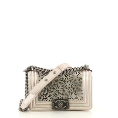 Chanel Boy Flap Bag Strass Embellished Leather Small Pink 3951522