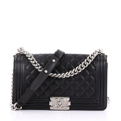 Chanel Boy Flap Bag Quilted Perforated Lambskin Old Medium Black – Rebag c0c289151ba62