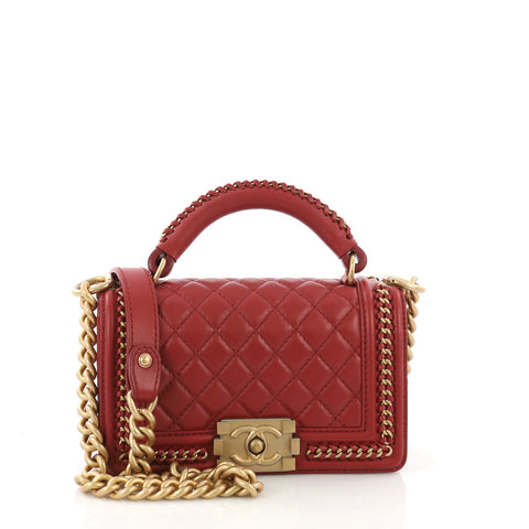 0c7c11e34831e8 Chanel Chain Handle Boy Flap Bag Quilted Calfskin Small Red 3951540 – Rebag