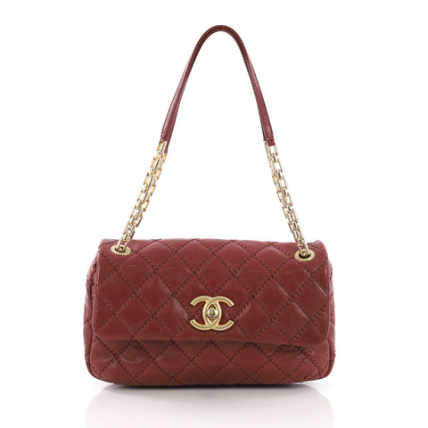 35ff0dc3874beb Chanel Retro Chain Flap Bag Quilted Leather Medium Red 3951545 – Rebag