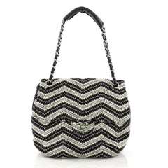 Chanel Vintage Round Flap Bag Chevron Tweed Medium Black 3951553