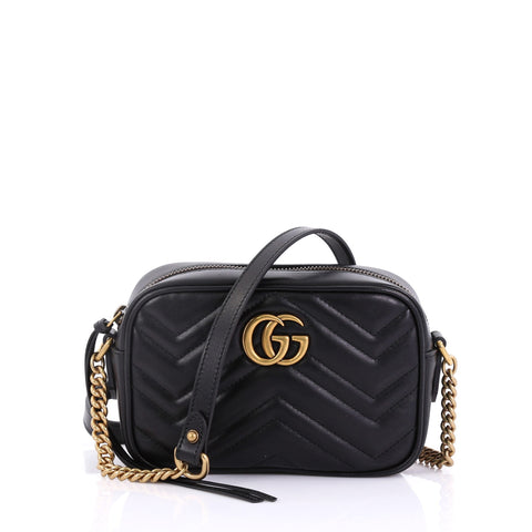 a00db2366e3 Gucci GG Marmont Shoulder Bag Matelasse Leather Mini Black 3951559 – Rebag