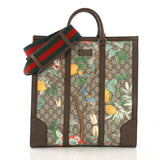 Gucci Web Strap Convertible Tote Tian Print GG Coated Canvas Tall