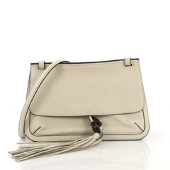 Gucci Bamboo Daily Flap Bag Leather White