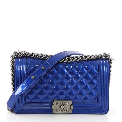 6f22e54d5dde Chanel Boy Flap Bag Quilted Patent Old Medium Blue 395353 – Rebag