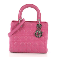 630642418c00 Christian Dior Lady Dior Handbag Cannage Quilt Lambskin Medium Pink 395355