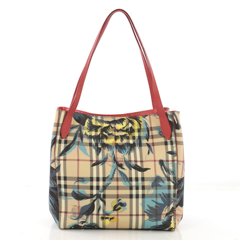 089e6838d469 Burberry Canter Tote Printed Haymarket Coated Canvas and 395357 – Rebag