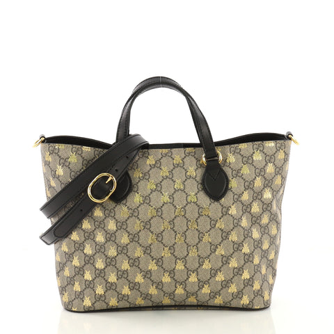 e7a9dac757b4 Gucci Convertible Soft Tote Printed GG Coated Canvas Small 3953925 – Rebag