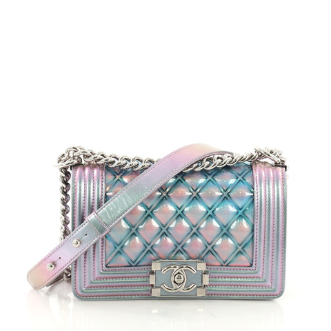 Chanel Boy Flap Bag Quilted Holographic PVC Small Purple 395392 – Rebag b775ff04a4ead