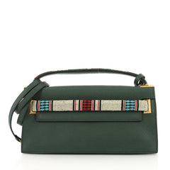 Valentino My Rockstud Clutch Tribal Embellished Leather Green