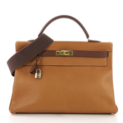 Hermes Kelly Handbag Bicolor Ardennes with Gold Hardware 40 3954025