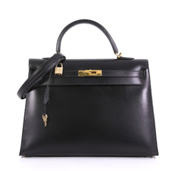 Hermes Kelly Handbag Black Box Calf with Gold Hardware 35 395408