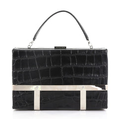 Alexander McQueen Cage Clutch Crocodile Embossed Leather Black 395481