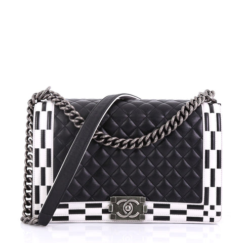 Chanel Boy Flap Bag Quilted Calfskin New Medium Black 395511 – Rebag be95a20f8099f