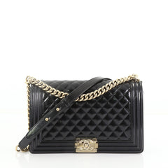 3f688d49da69 Chanel Boy Flap Bag Quilted Patent New Medium Black 395525