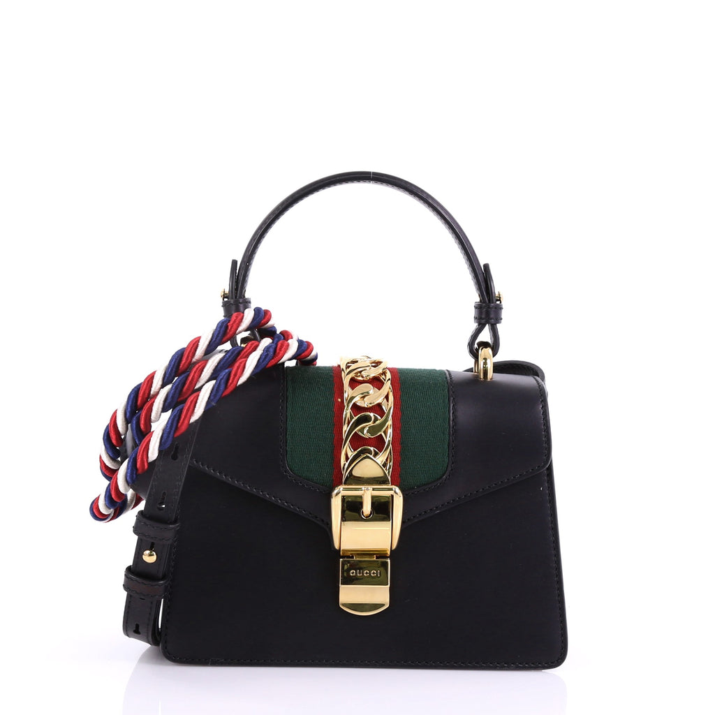 9dbb60cd18d Gucci Sylvie Top Handle Bag Leather Mini Black 395911 – Rebag
