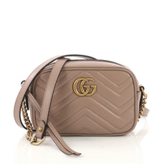 Gucci GG Marmont Shoulder Bag Matelasse Leather Mini Pink 3961001