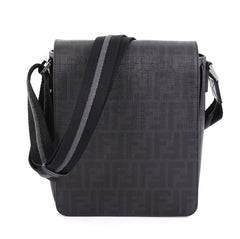 d4688c3639 Fendi Flap Messenger Bag Zucca Coated Canvas Small Black