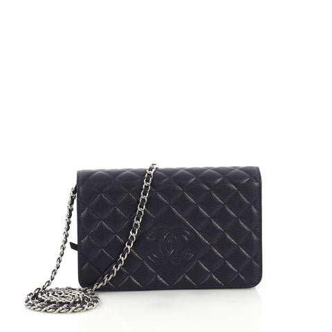 1cd1f34e7fb9 Chanel Diamond CC Wallet on Chain Quilted Caviar Blue 3961351 – Rebag