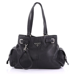 Prada Side Pocket Belt Tote Vitello Daino Medium Black 3961367