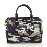 Christian Dior Polochon Satchel Limited Edition Anselm Reyle Camouflage Canvas Medium Purple 396136