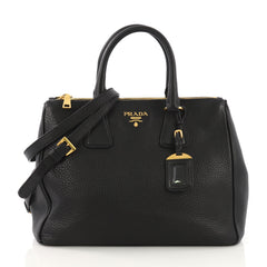 Prada Double Zip Tote Vitello Daino Medium Black