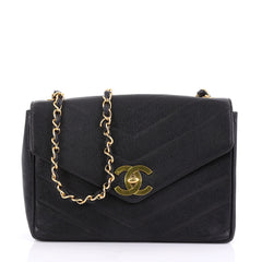 Chanel Vintage CC Flap Bag Chevron Caviar Medium 3961399