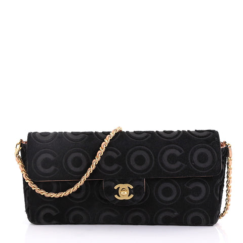 b62a97d70175 Chanel Vintage Chain Flap Bag Coco Pony Hair East West Black 396171 – Rebag
