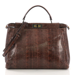 Fendi Peekaboo Handbag Python Large Brown