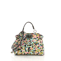 Fendi Peekaboo Handbag Printed Leather Micro Green