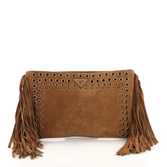 Prada Grommet Fringe Clutch Suede Large Brown