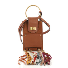 Chloe Jane Crossbody Bag Leather and Suede Mini Brown 3961766