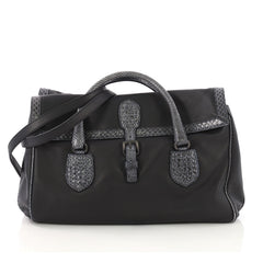 Bottega Veneta Double Sided Buckle Top Handle Bag Leather with Python Detail Large Black