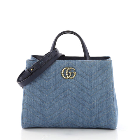 d6a9931ab80c Gucci Pearly GG Marmont Tote Matelasse Denim Small Blue 3961777 – Rebag
