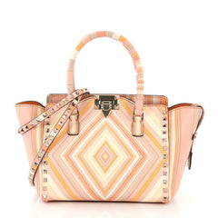 Valentino Rockstud 1975 Tote Striped Leather Small Multi 3961782