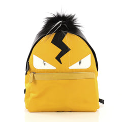 Fendi Monster Backpack Nylon with Leather and Fur Large Yellow