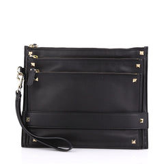 Valentino Rockstud Triple Zip Clutch Leather Black 3961788