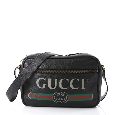 e368d42d9671 Gucci Logo Shoulder Bag Printed Leather Black 396451 – Rebag