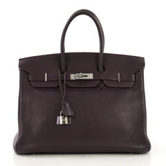 Hermes Birkin Handbag Purple Clemence with Palladium 396541
