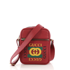 Gucci Logo Zip Messenger Bag Printed Leather Small Red 396681