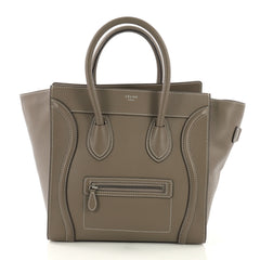 Celine Luggage Handbag Grainy Leather Mini Neutral 3967529