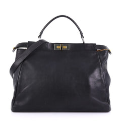 Fendi Peekaboo Handbag Leather with Calf Hair Interior Large Black