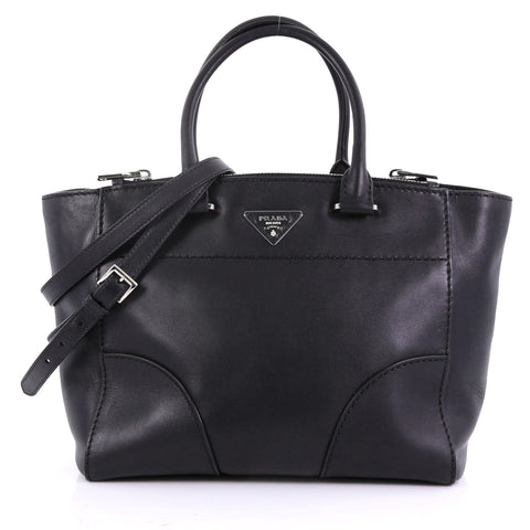 015b0091623d Prada Twin Pocket Tote Stitched City Calfskin Medium Black 3967560 – Rebag