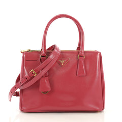 Prada Double Zip Lux Tote Vernice Saffiano Leather Small Pink