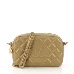 Chanel Diamond CC Camera Case Bag Quilted Lambskin Small Gold 39675/72