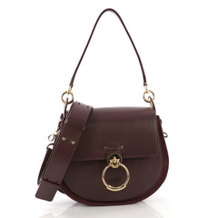 Chloe Tess Crossbody Bag Leather with Suede Large Purple 396783