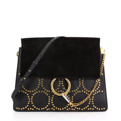 Chloe Faye Shoulder Bag Studded Suede Medium Black 3968326