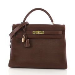 Hermes Kelly Handbag Brown Courchevel with Gold Hardware 32 3968541