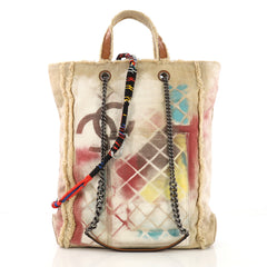 Chanel Art School Oh My Boy Tote Graffiti Canvas Neutral 396854