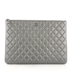 Chanel O Case Clutch Quilted Lambskin Large Silver 39685/50